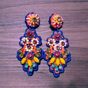 Embroidered fabric crystal earrings blue orange